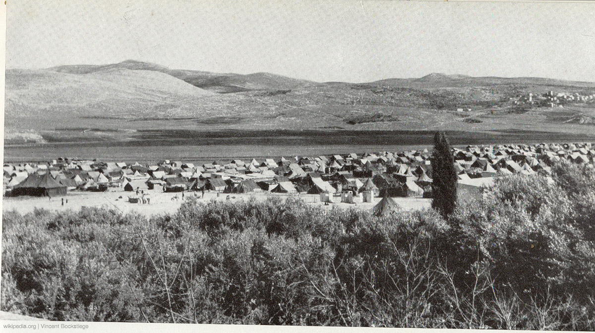 Image of Balata refugee camp from the 1950's. It is situated in the northern West Bank in 1950, adjacent to the city of Nablus. It is the largest refugee camp and also densely populated with 30,000 residents in an area of 0.25 square kilometers
