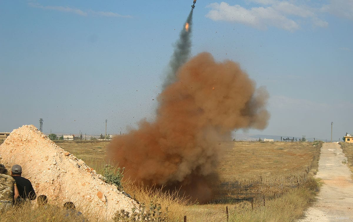 Rocket missiles launched from a field [Anadolu Agency]