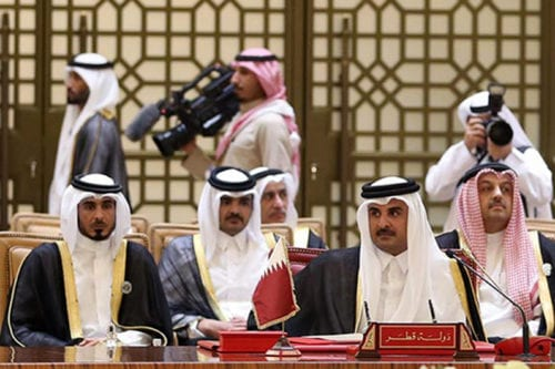 Emir of Qatar, Sheikh Tamim bin Hamad Al Thani attends the 37th Leaders Summit by Gulf Cooperation Council member states at Al-Sakhir Palace in Manama, Bahrain on 6 December, 2016 [Stringer/Anadolu Agency]