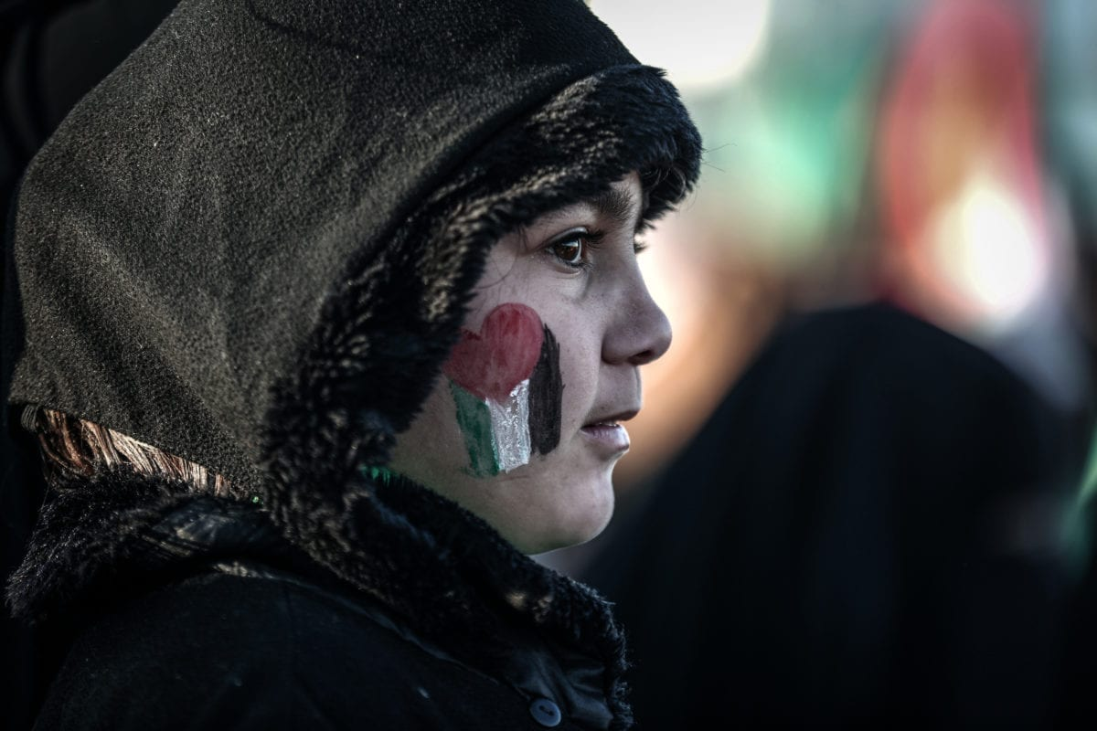 A girl's cheek is painted with the colours of Palestinian flag during a protest in Gaza on 11 December 2016 [Ali Jadallah/Anadolu Agency]