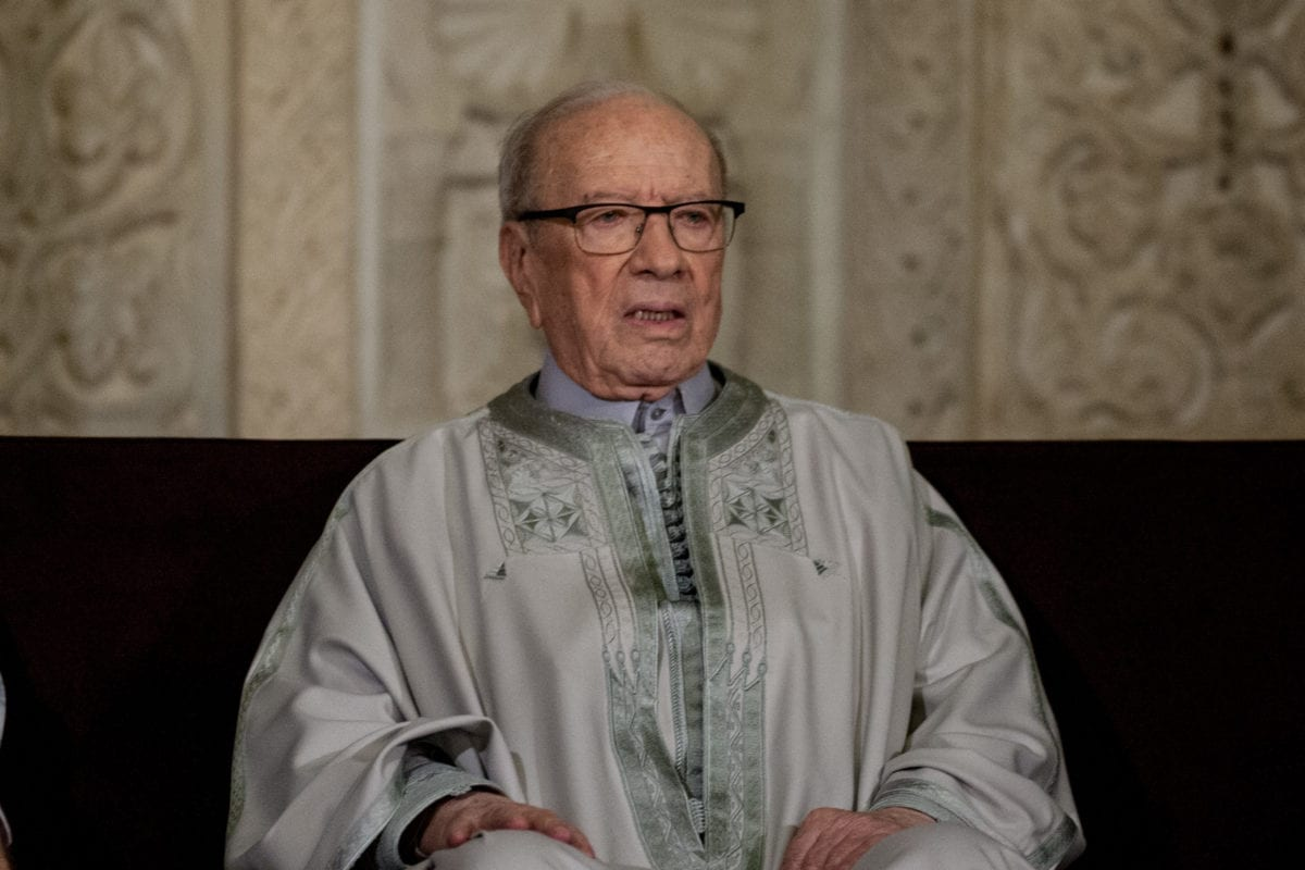 Image of Tunisian President Beji Caid Essebsi in Kairouan, Tunisia on December 11, 2016. (Amine Landoulsi - Anadolu Agency )