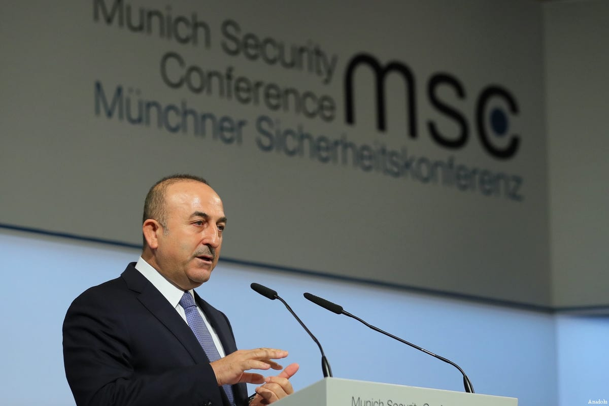 """Turkish Foreign Minister Mevlut Cavusoglu speaks during a panel discussion within the """"Munich Security Conference"""" in Munich, Germany on 19 February, 2017 [Ahmet Gumus/Anadolu Agency]"""