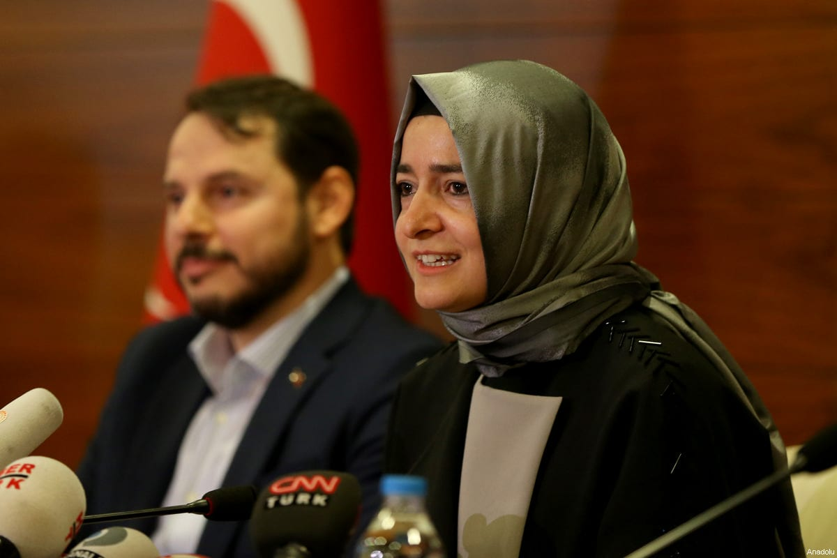Turkish Family Minister Fatma Betul Sayan Kaya (R), departed from Cologne Bonn Airport, speaks to media upon her arrival, with the attendance of Turkish Minister of Energy and Natural Resources Berat Albayrak (L), at the Ataturk International Airport in Istanbul, Turkey on March 12, 2017 [Berk Özkan / Anadolu Agency]