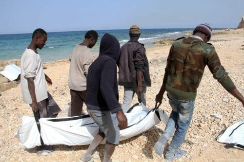 Bodies of drowned refugees are found washed ashore in Libya's Zawiya on 22 February 2017 [Hazem Turkia - Anadolu Agency ]