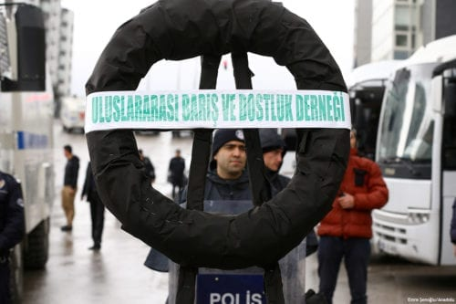 Image of a protest against the Dutch authorities ban on Turkish ministers outside the Dutch embassy in Ankara, Turkey on 12 March 2017 [Emre Şenoğlu/Anadolu]