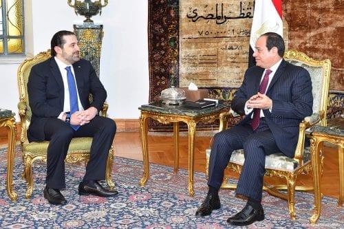 Prime Minister of Lebanon Saad Hariri (L) meets with President of Egypt Abdel Fattah el-Sisi (R) in Cairo, Egypt on 22 March 2017 [Ibrahim Ramadan/Anadolu]