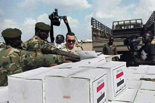 Discovery of arms cache from Egypt intercepted on route to SPLM/N which is engage in civil war in Southern Kordofan against Sudan