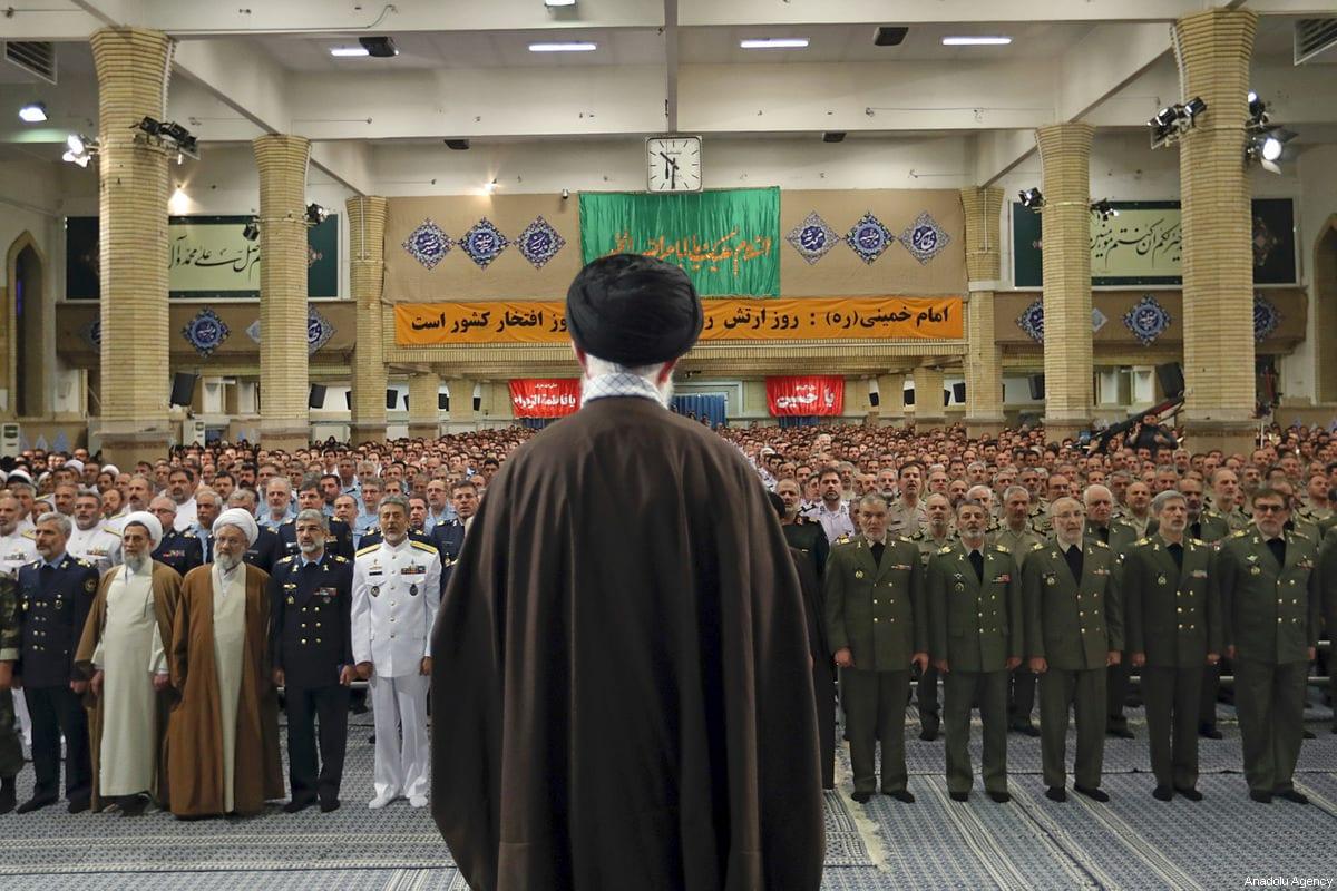 Supreme Leader of Iran, Ali Khamenei addresses the Iranian Army in Tehran, Iran on 19 April 2017 [Supreme Leader Press Office/Handout/Anadolu Agency]