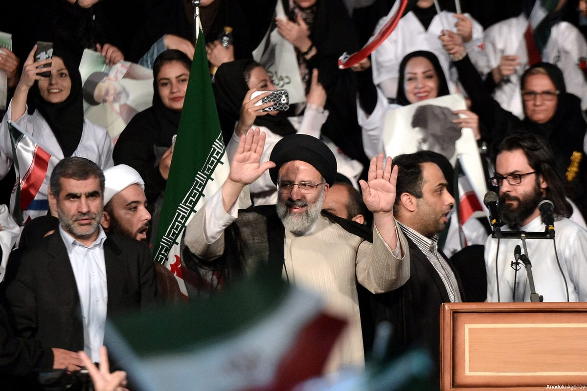 Iranian cleric and presidential candidate Ebrahim Raisi (C) gives a speech during a rally in Tehran, Iran on 29 April 2017 [Fatemeh Bahrami/Anadolu Agency]
