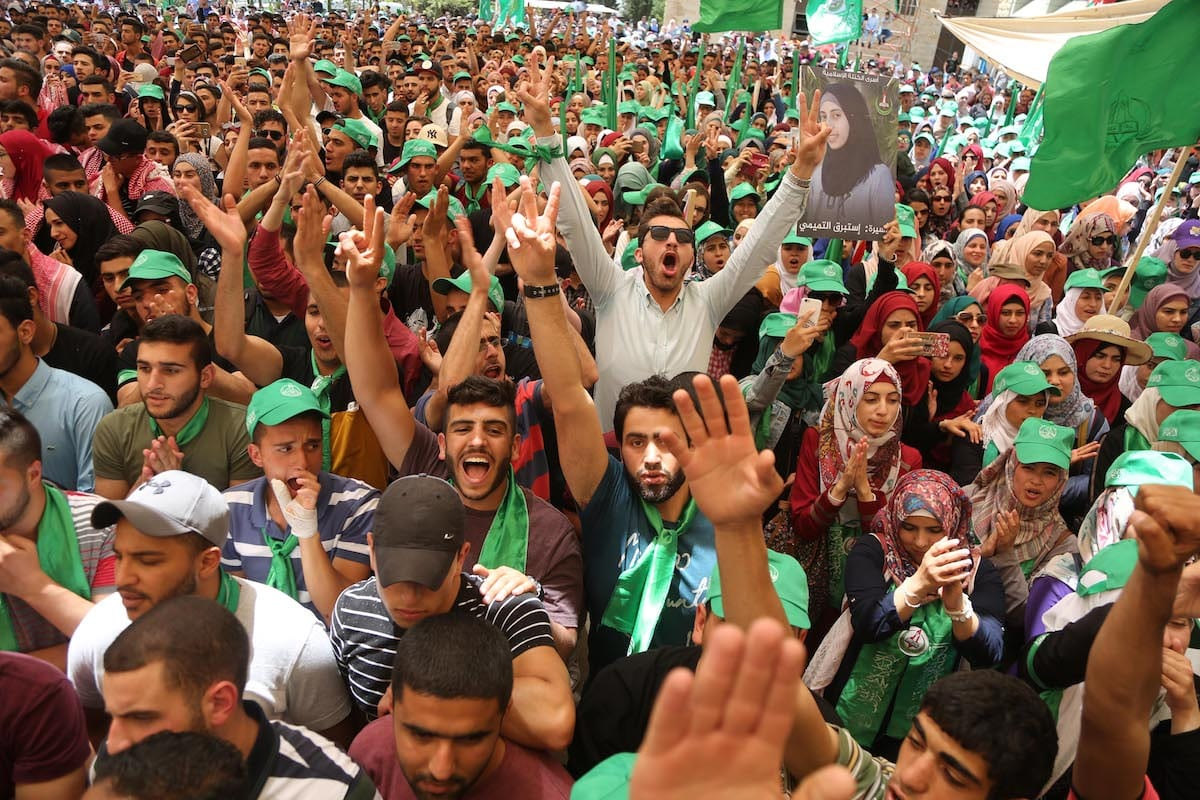 Image of Hamas supporters in Ramallah, West Bank on 9 May 2017 [Issam Rimawi/Anadolu Agency]