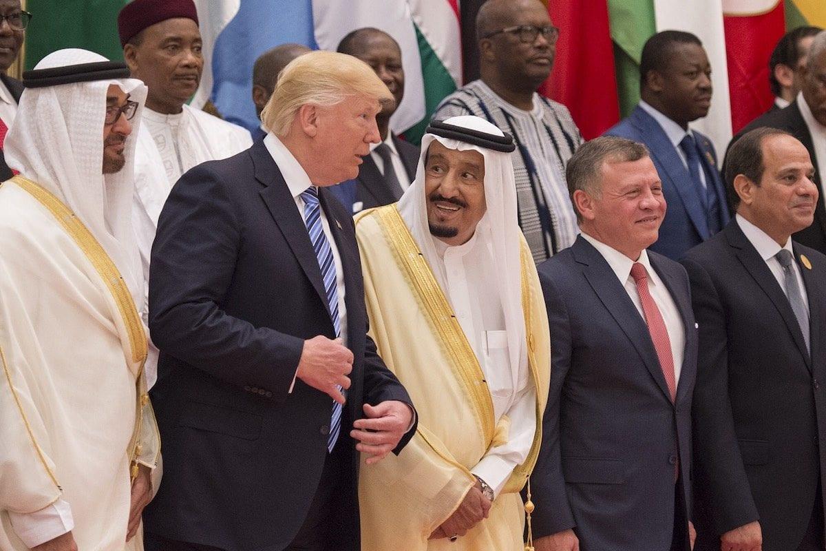 Participants pose for a photo during the Arabic Islamic American Summit in Riyadh, Saudi Arabia on May 21, 2017 [Bandar Algaloud / Saudi Kingdom Council / Handout/Anadolu Agency ]