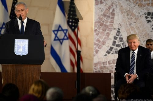 Prime Minister of Israel Benjamin Netanyahu (L) speaks during US President Donald Trump's (R) visit to Israel Museum in Jerusalem on 23 May 2017. [Israeli Government Press Office/Haim Zach/Handout]