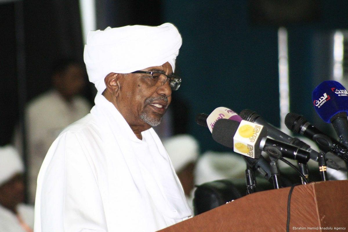 Sudanese President Omar al-Bashir delivers a speech during the National Congress Party's fourth general assembly at Khartoum International Fair in Khartoum, Sudan on 28 April, 2017 [Ebrahim Hamid/Anadolu Agency]