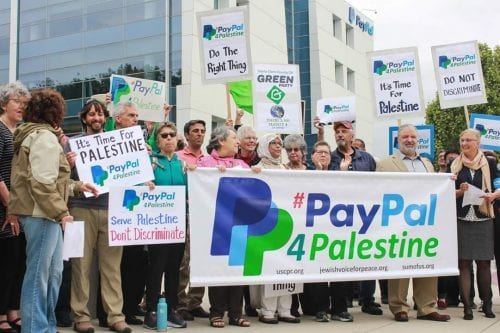 Image of a demonstration calling on PayPal to offer its services to Palestinians in the Occupied West Bank and the Gaza Strip [Jewish Voice for Peace]