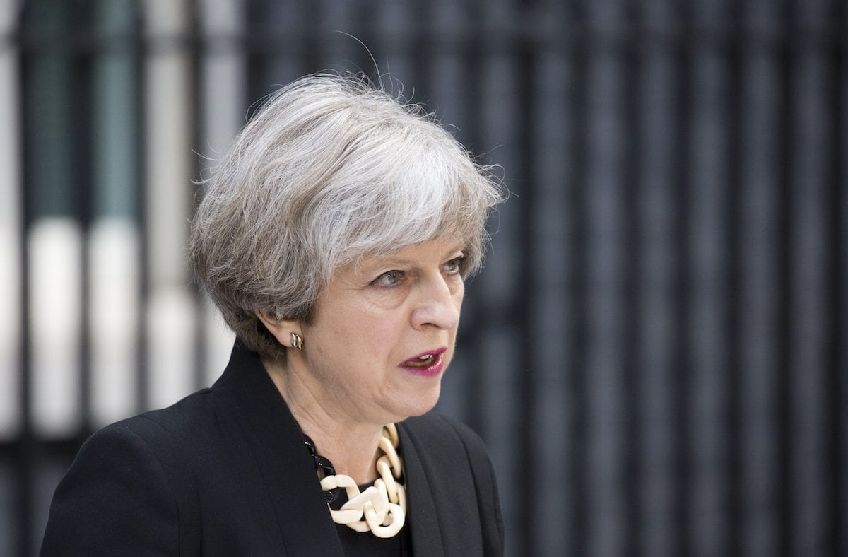 Image of British Prime Minister Theresa May on 4 June 2017 [Isabel Infantes/Anadolu Agency]