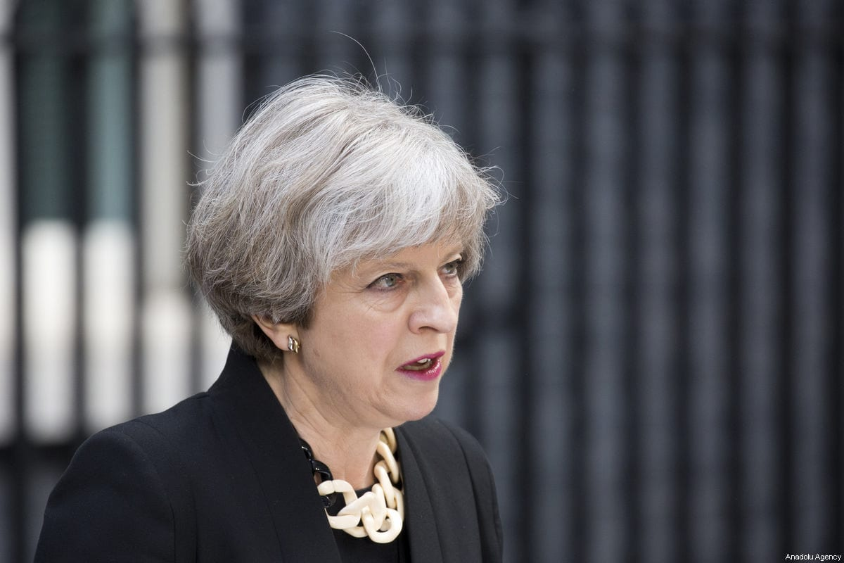 British Prime Minister Theresa May delivers a statement outside number 10 Downing Street in London, England on 4 June, 2017 [Isabel Infantes/Anadolu Agency]