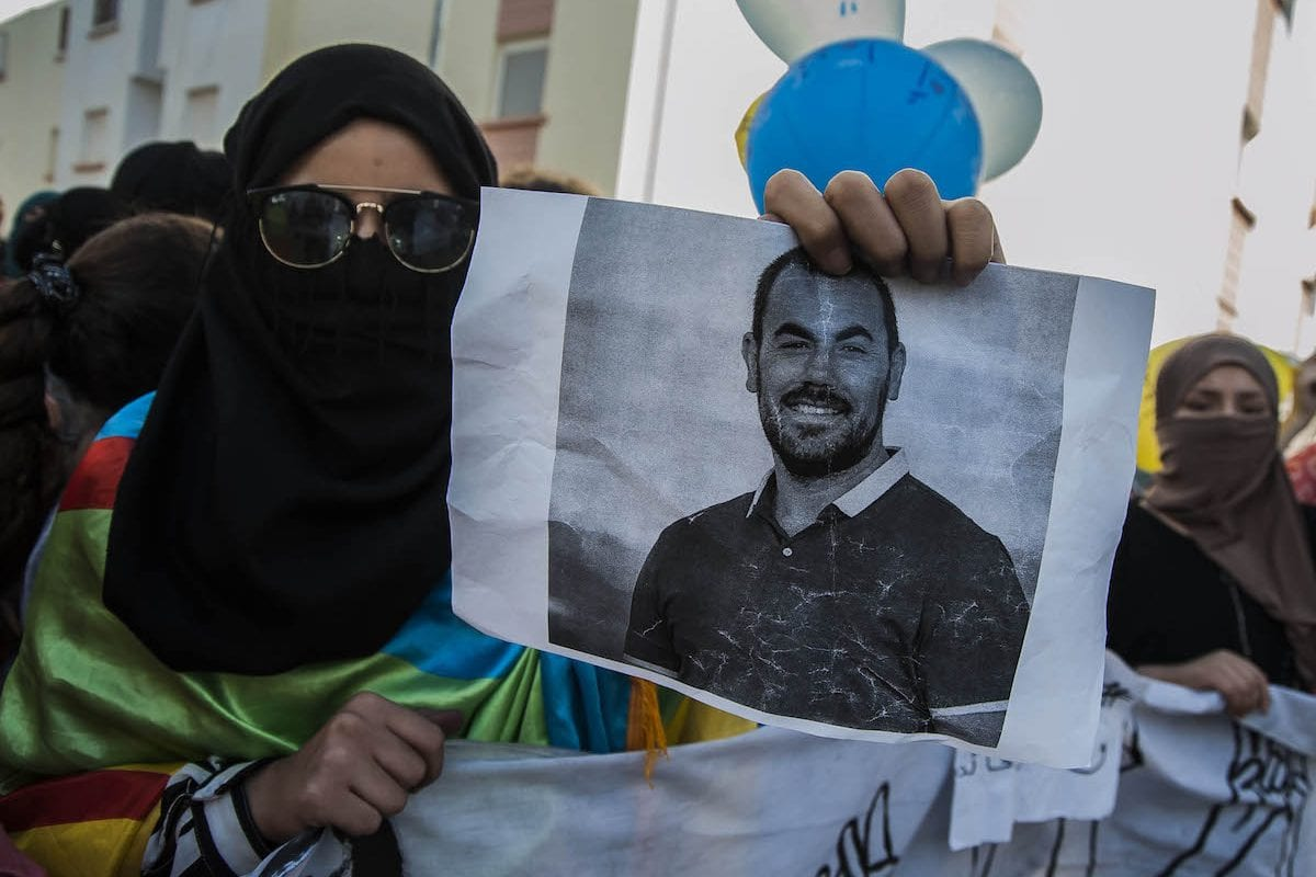 Protesters, supporting Rif Movement leader Nasser Zefzafi, stage a demonstration demanding the government to take action for developing the region in Hoceima, Morocco on 11 June 2017 [Jalal Morchidi/Anadolu Agency]