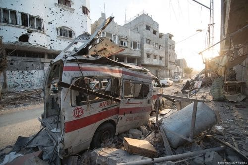 A damaged ambulance which was bombed during the Gaza war [Boris Niehaus/Wikipedia]