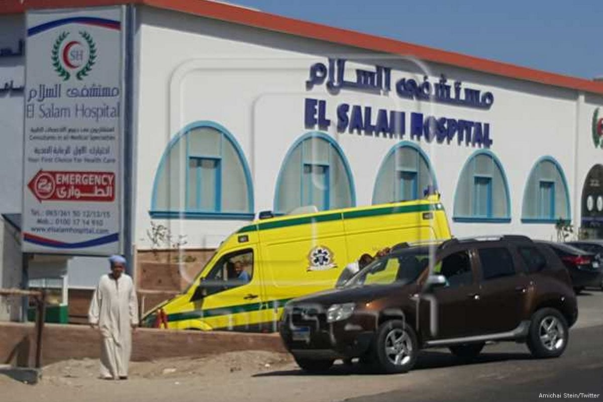 Ambulance bring the wounded tourists to hospital after they stabbed in an Egyptian Red Sea holiday resort on 14 July 2017 [Amichai Stein/Twitter]