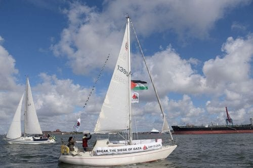 Ship to Gaza's first campaign boat, Mairead, is seen in Sweden's ports. . Photo: Gudrun Romeborn
