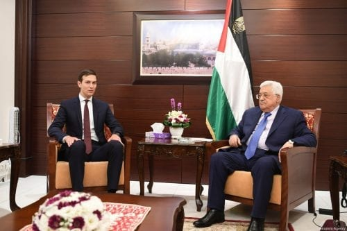 US presidential adviser Jared Kushner (L) meets with President of Palestine, Mahmoud Abbas (R) in Ramallah, West Bank on 24 August 2017 [Palestinian Presidency/Anadolu Agency]