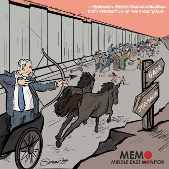 Netanyahu as Pharoah - Cartoon [Sarwar Ahmed/MiddleEastMonitor]