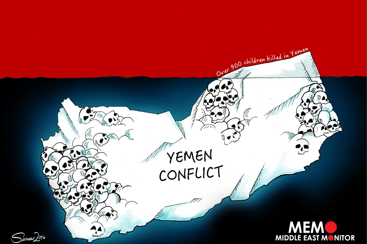 Deaths in Yemen Conflict - Cartoon [Sarwar Ahmed/MiddleEastMonitor]