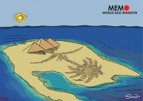 Egypt gives Saudi Two Islands - Cartoon [Sarwar Ahmed/MiddleEastMonitor]