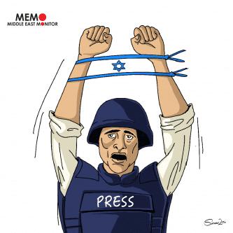 Palestinian Journalists Arrested by Israel - Cartoon [Sarwar Ahmed/MiddleEastMonitor]
