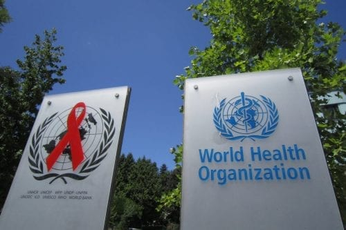 A sign outside the headquarters of the World Health Organisation (WHO) in Geneva, Switzerland [who.int]