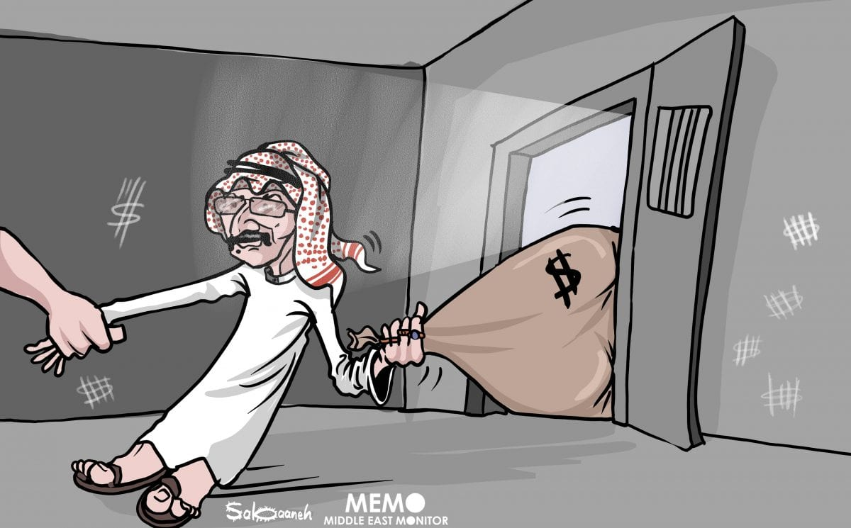 Saudi billionaire Prince Al-Waleed detained in corruption inquiry - Cartoon [Sabaaneh/MiddleEastMonitor]