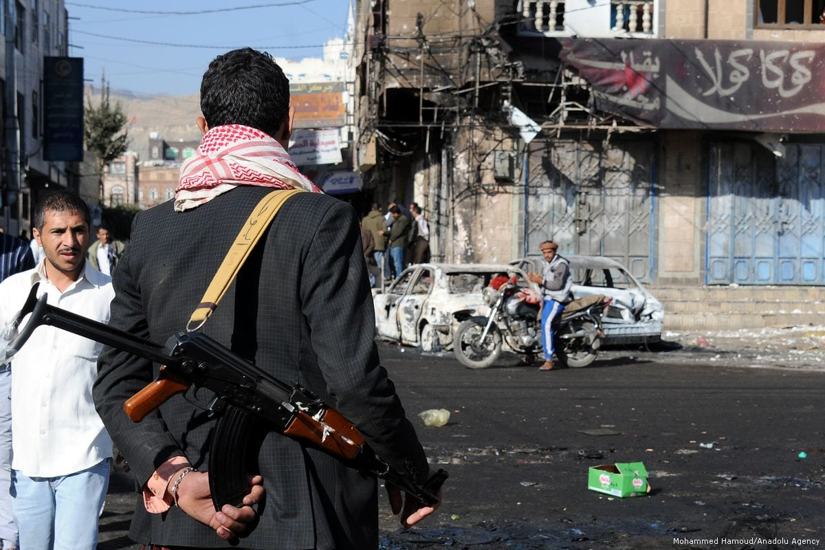 Houthis patrol around after the clashes between Houthis and Former Yemeni President Ali Abdullah Saleh's supporters took place in Sanaa, Yemen on 5 December 2017 [Mohammed Hamoud/Anadolu Agency]
