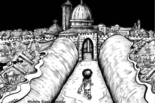 Partition of Jerusalem? Let my people in! - Cartoon [Sabaaneh/MiddleEastMonitor]