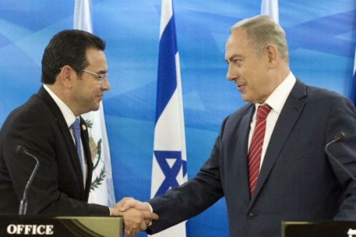 President of Guatemala Jimmy Morales [left], meets the Israeli Prime Minister Benjamin Netanyahu, seen during a joint press conference in Jerusalem in 2016