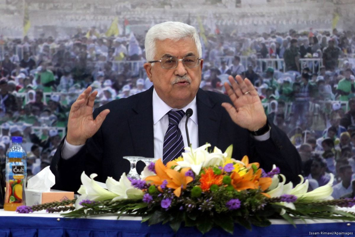 Palestinian President Mahmoud Abbas speaks during a meeting of the Palestinian leadership at his compound in the West Bank [Issam Rimawi/Apaimages]