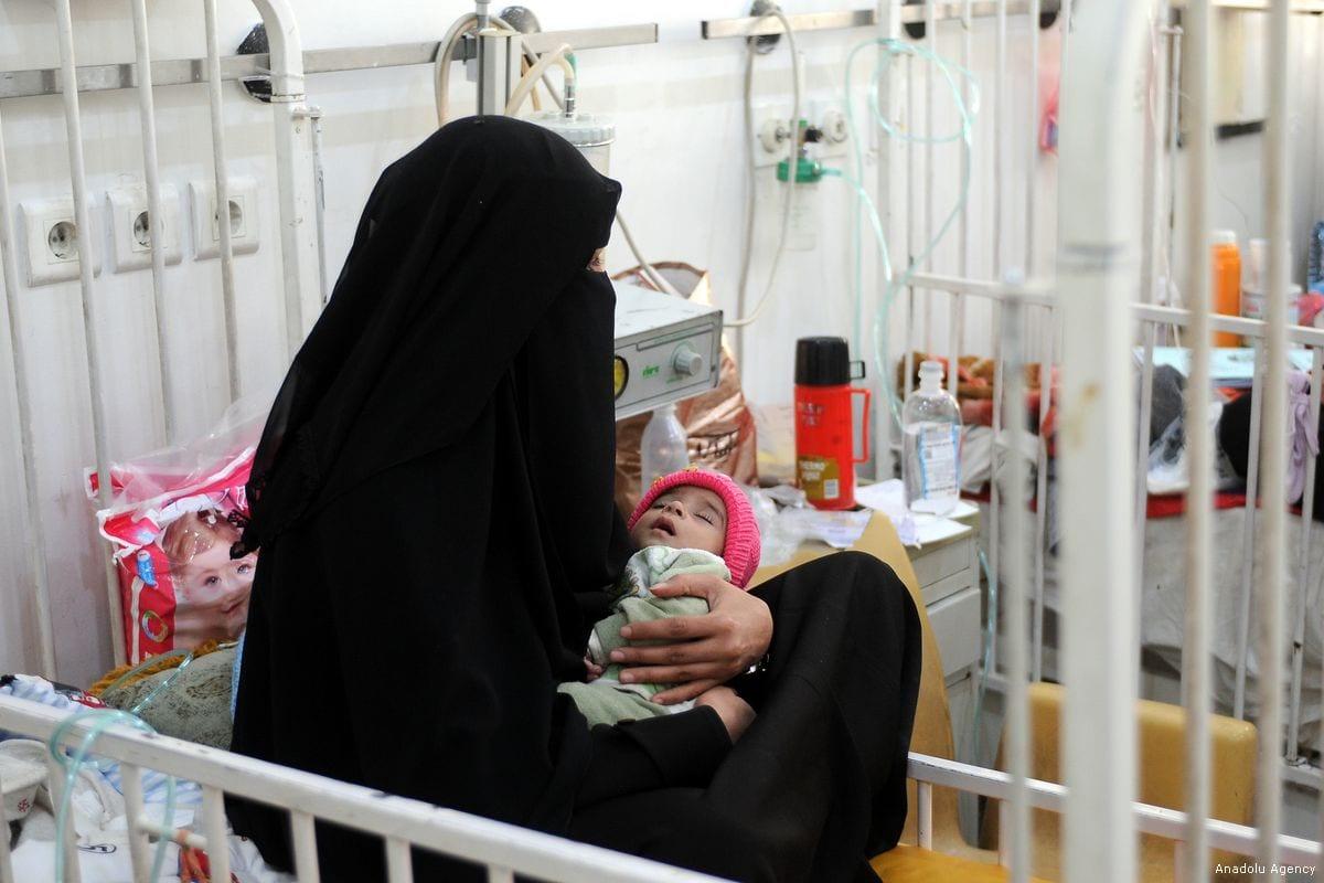 A Yemeni baby receives medical care at a hospital in Yemen [Mohammed Hamoud/Anadolu Agency]