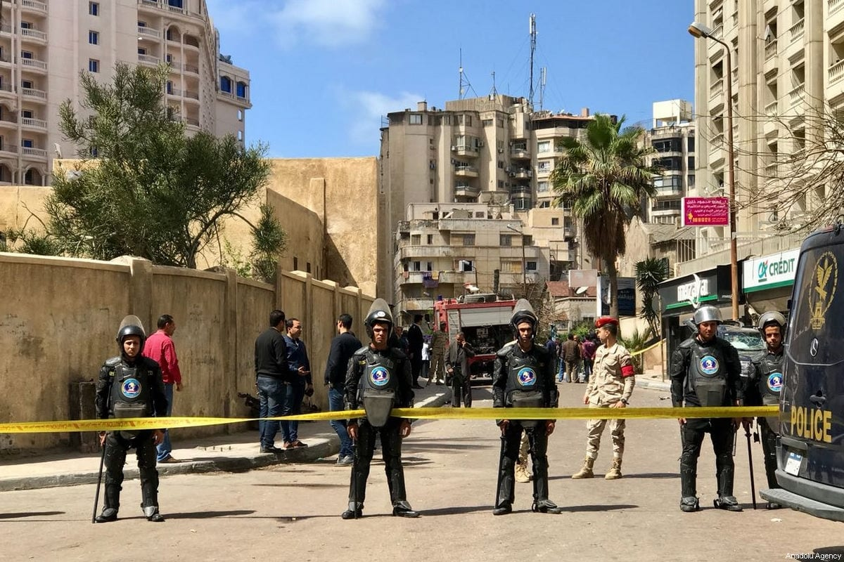 Egyptian security forces take security measures after a terrorist attack was conducted with a bomb laden vehicle, which killed a policeman and injured 4, in Alexandria, Egypt on March 24, 2018 [Ibrahim Ramadan / Anadolu Agency]