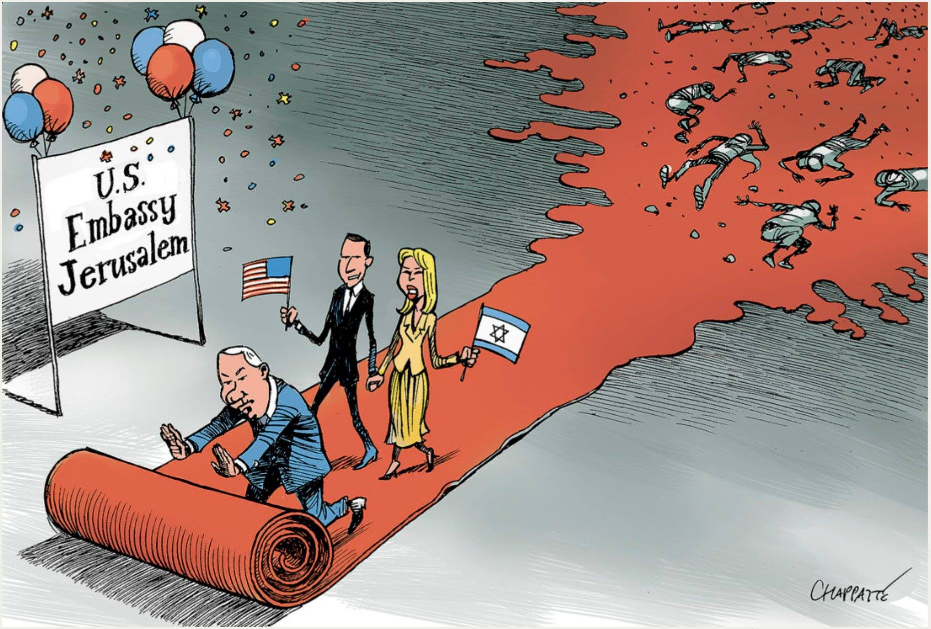 US embassy moved to Jerusalem - Cartoon [Chappatte/Twitter]