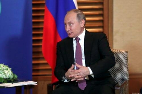 President of Russia Vladimir Putin in Qingdao, China on 9 June 2018 [Iranian Presidency/Anadolu Agency]