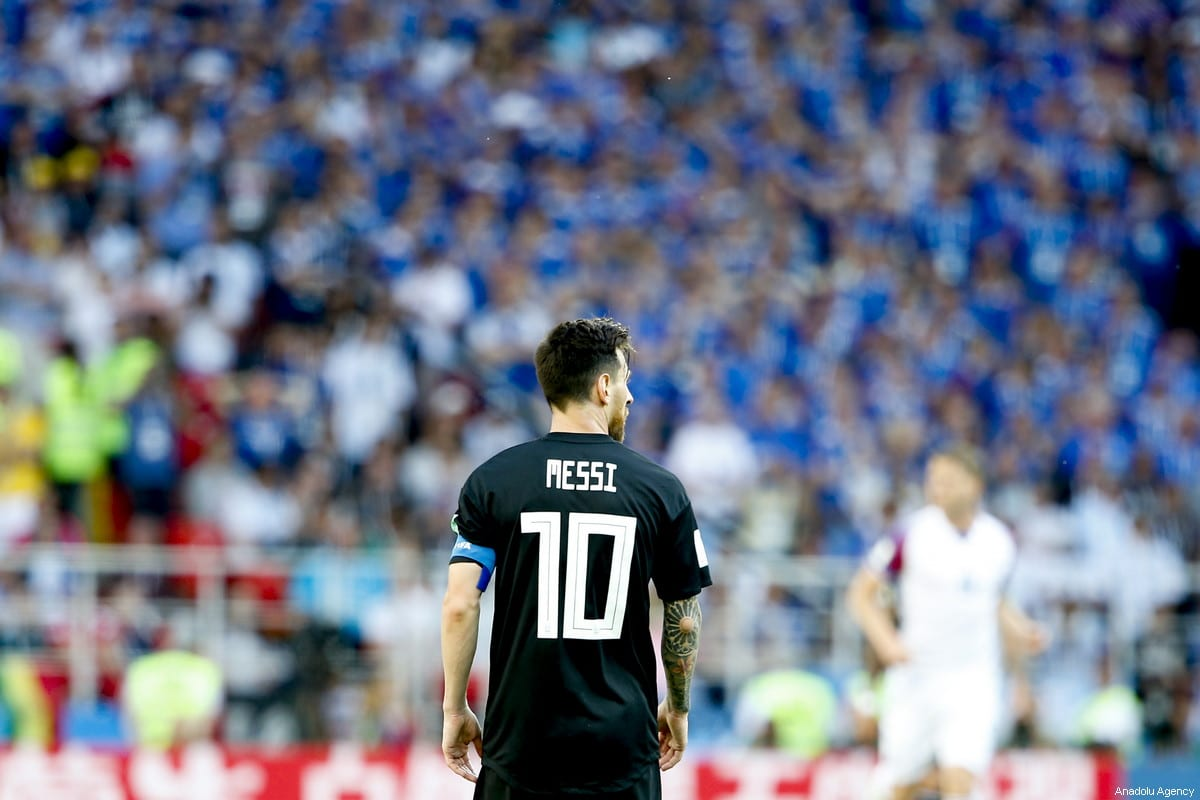 Lionel Messi of Argentina is seen during the 2018 FIFA World Cup Russia Group D match between Argentina and Iceland at the Spartak Stadium in Moscow, Russia on June 16, 2018. ( Sefa Karacan - Anadolu Agency )