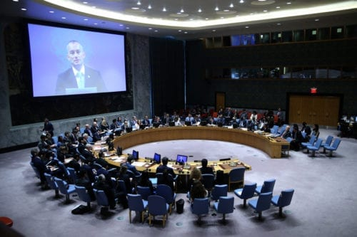 General view of the Security Council meeting on the situation in the Middle East including the Question of Palestine at the United Nations Headquarters in New York, United States on 24 July, 2018 [Atılgan Özdil/Anadolu Agency]