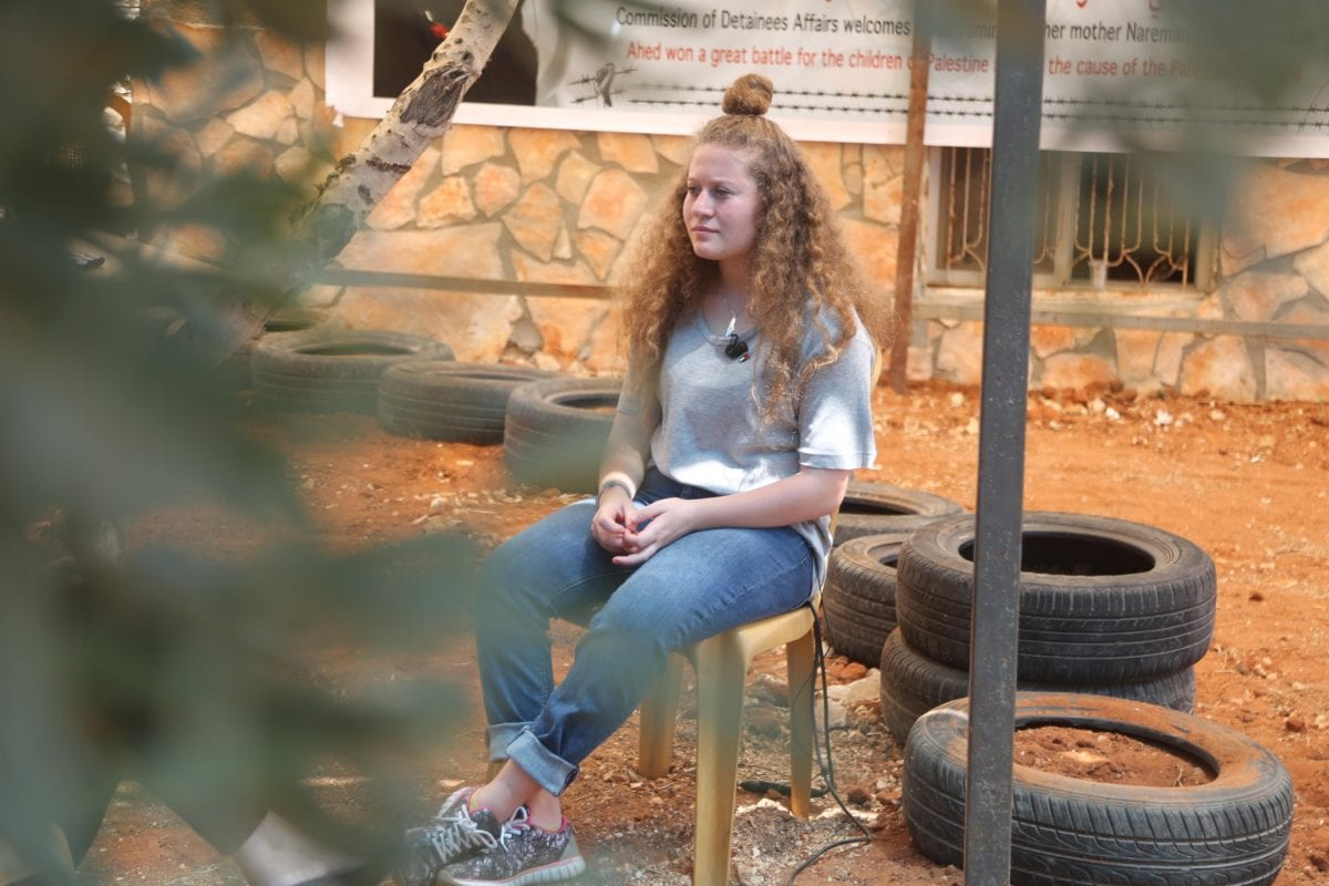 Palestinian teenager Ahed al-Tamimi in Ramallah, West Bank on 2 August, 2018 [İssam Rimawi/Anadolu Agency]