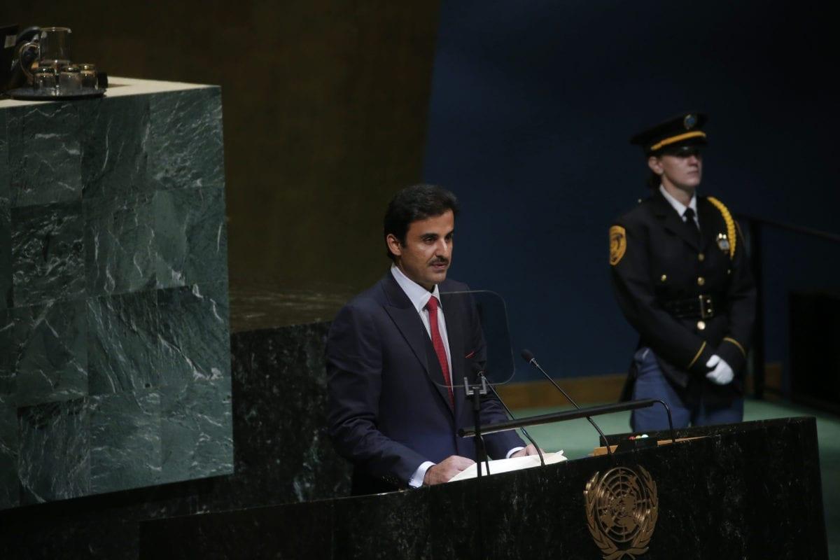 Qatari Emir Sheikh Tamim bin Hamad al-Thani speaks during United Nations 73rd General Assembly in New York, United States on 25 September, 2018 [Mohammed Elshamy/Anadolu Agency]