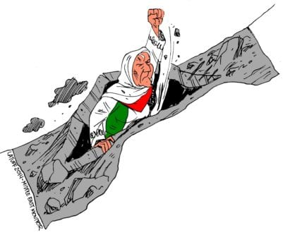 Gaza will never give up - Cartoon [Cartoon Latuff/MiddleEastMonitor]