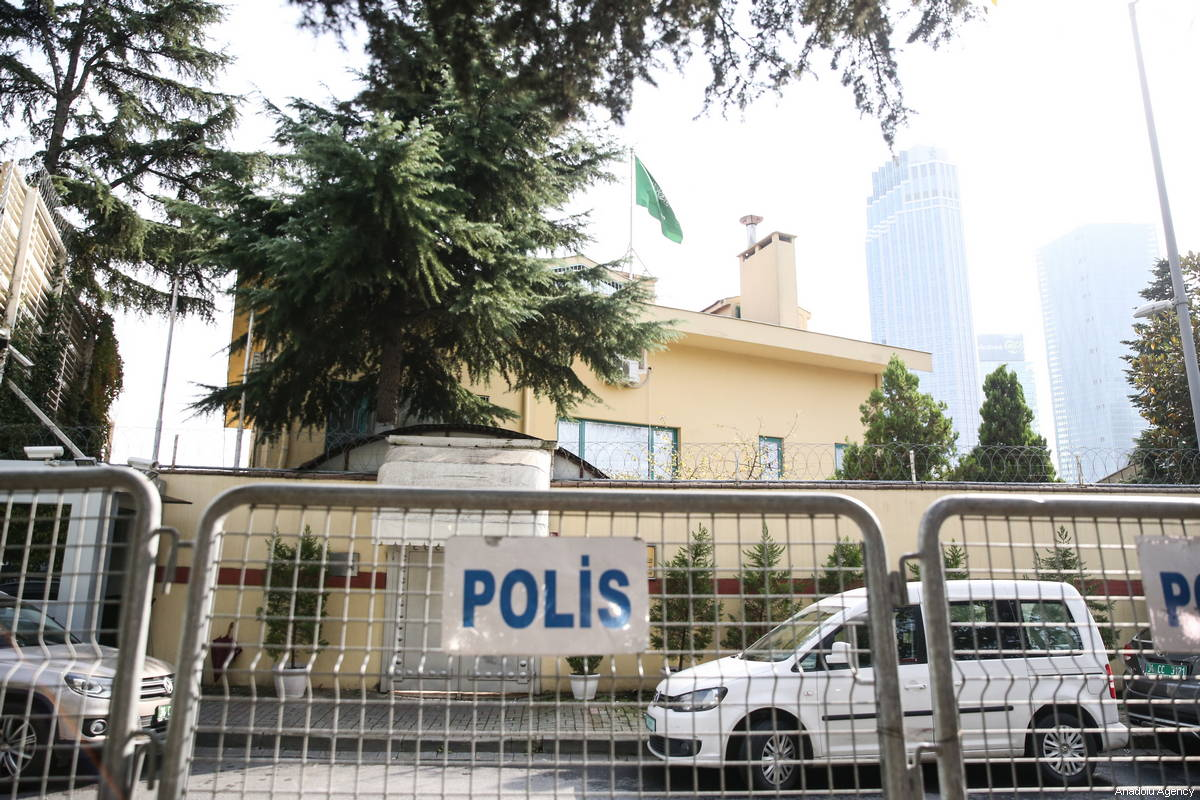 Police barricades are seen outside of Consulate General of Saudi Arabia as the waiting continues on the disappearance of Prominent Saudi journalist Jamal Khashoggi, in Istanbul, Turkey on 18/ October, 2018 [Elif Öztürk/Anadolu Agency]