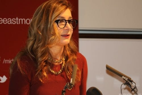 Sarah Leah Whitson, the executive director of Human Rights Watch's Middle East and North Africa Division speaks at MEMO and Al-Sharq Forum's event in London 'Remembering Jamal' on 29 October 2018 [Jehan Alfarra/Middle East Monitor]