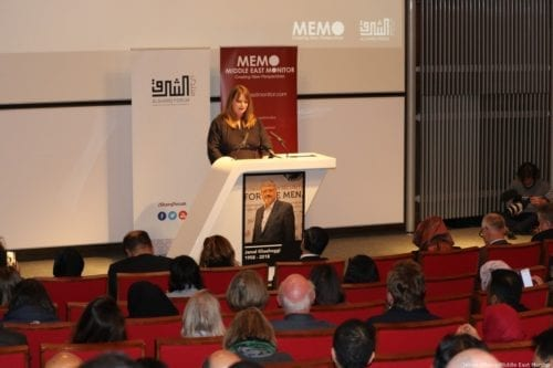 Michelle Stanistreet, the elected general secretary of the National Union of Journalists (NUJ) speaks at MEMO and Al-Sharq Forum's event in London 'Remembering Jamal' on 29 October 2018 [Jehan Alfarra/Middle East Monitor]