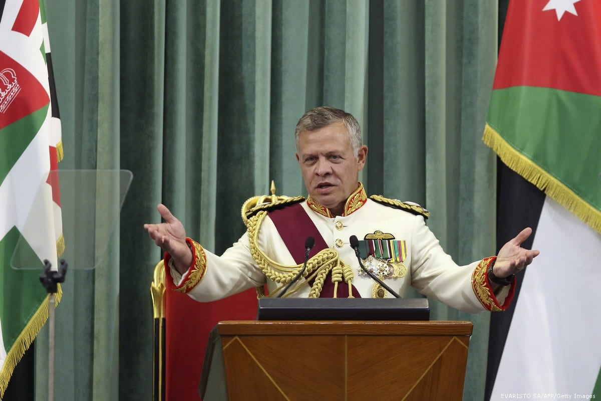 Jordan's King Abdullah II delivers a speech to the parliament in Amman, Jordan on 14 October 2018 [KHALIL MAZRAAWI/AFP/Getty Images]
