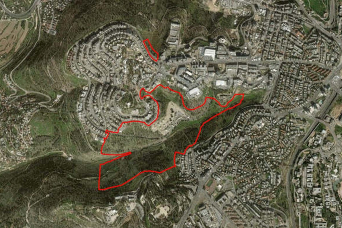 An aerial image shows the proposed location of the new neighborhood in Jerusalem [Society for the Protection of Nature in Israel]