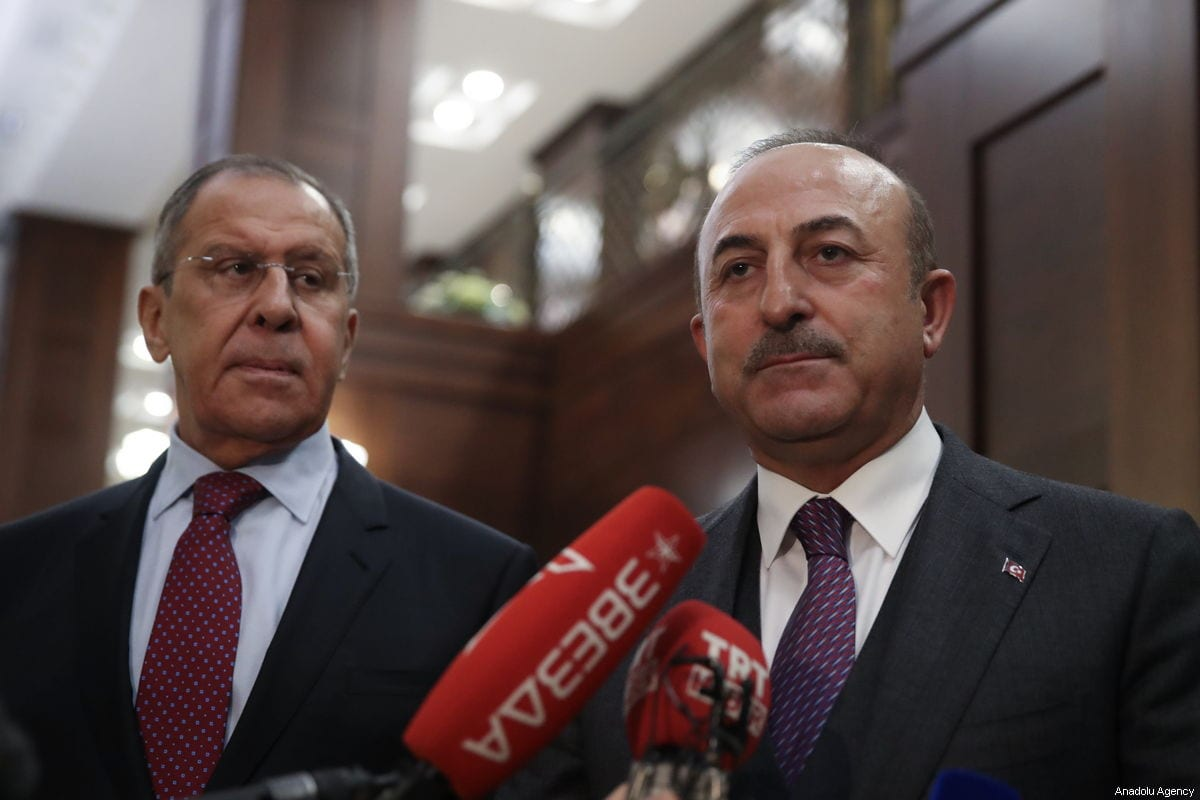 Minister of Foreign Affairs of Turkey, Mevlut Cavusoglu (R) and Minister of Foreign Affairs of Russia, Sergey Lavrov (L) on 29 December 2018 in Moscow, Russia [Fatih Aktaş/Anadolu Agency]